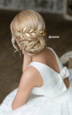 Low Chignon Gold Leaf Hairpiece Wedding Hairstyle