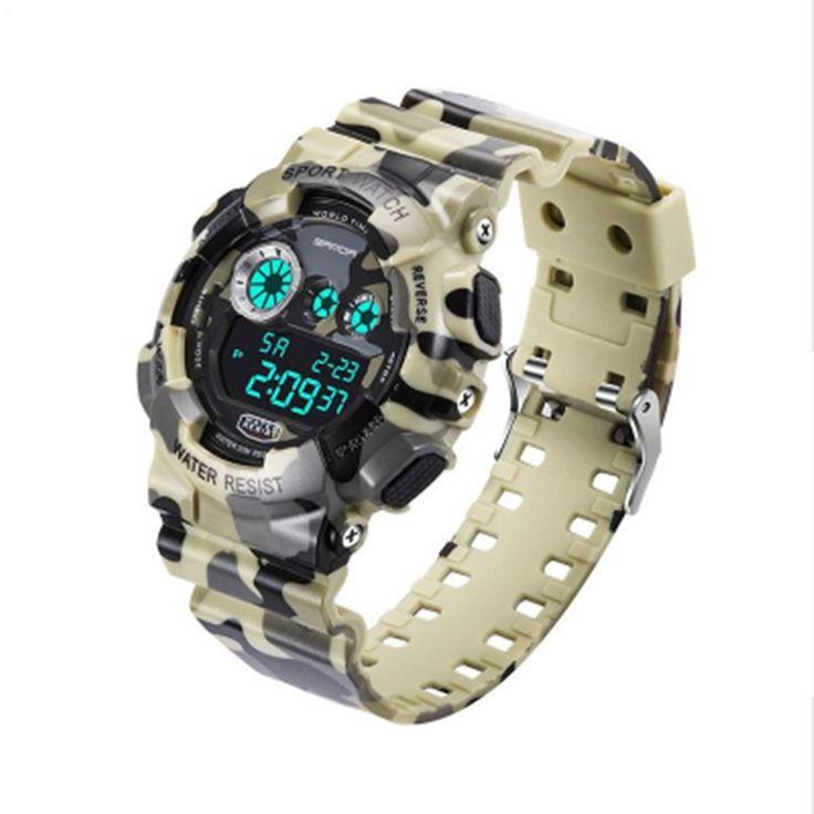 Men Sports Watch Analog Digital Quartz Wristwatches Luminous Camouflage SANDA S Shock Relojes LED Military Waterproof watches