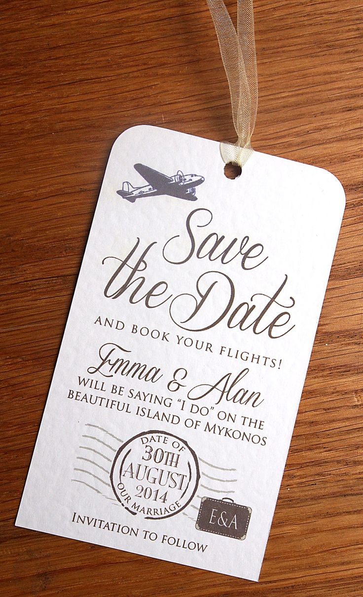 Luggage_label_save_the_date / Wedding Abroad / Save the Date. Our Vintage Luggage Label Save the Date Cards are perfect for letting your guests know they need to book time off and book flights to your wedding abroad! Each Save the Date Luggage Label is finished with rounded corners at the top and ribbon of your choice, supplied with a C6 Envelope. We can incorporate any of our designs into Save the Date Cards / Luggage Labels