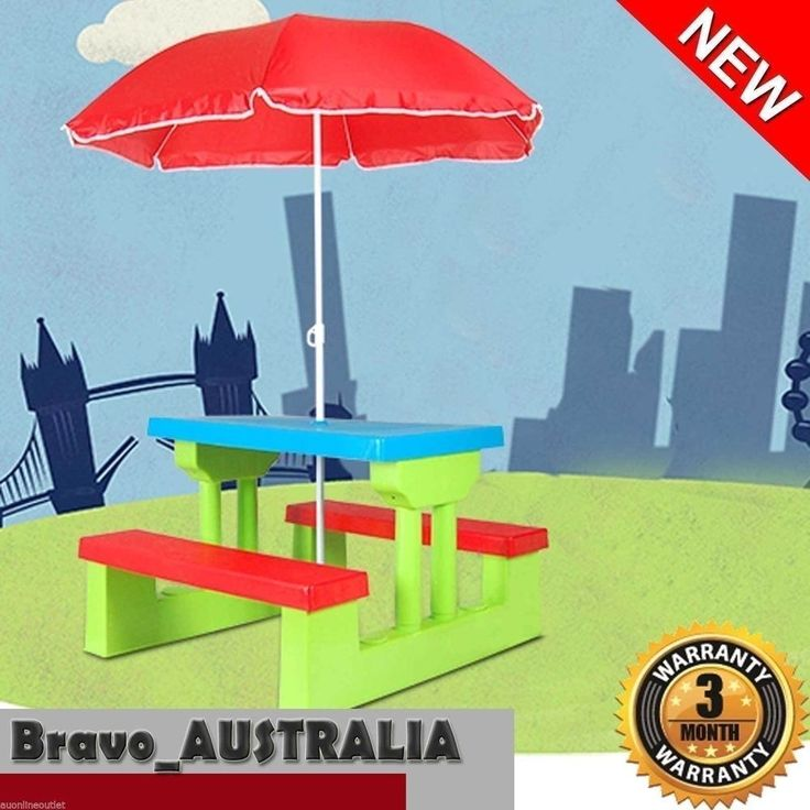 Kids Picnic Table Outdoor Multi-Colour Set with Umbrella Outdoor Furniture