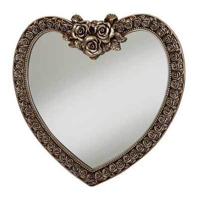 Decorative heart shaped mirror finished in a champagne with ornate rose frame 88 x 84cm Shop online > http://www.exclusivemirrors.co.uk/heart-shaped-mirrors/decorative-heart-shaped-mirror-champagne---88-x-84cm