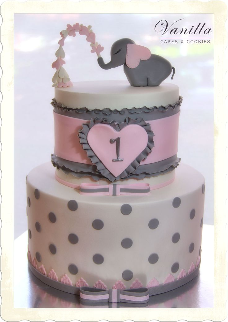 Filli Bebek Pastası... Heart spouting elephant cake... Pembe & Beyaz kız bebek pastası