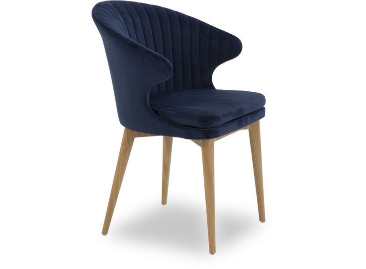 Add comfort, style and colour to your dining area with the Cleo dining chair. Elegantly presented and featuring sleek angled wooden legs, this eye catching chair in rich blue velvet fabric is sure to transform your dining area.