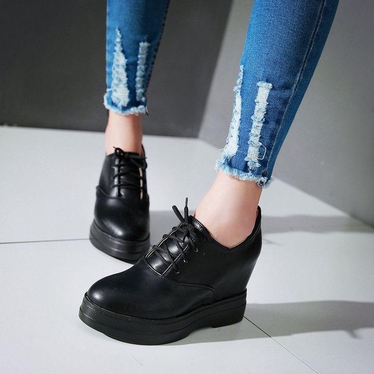 Lace Up Women Wedges High Heel Platform Shoes
