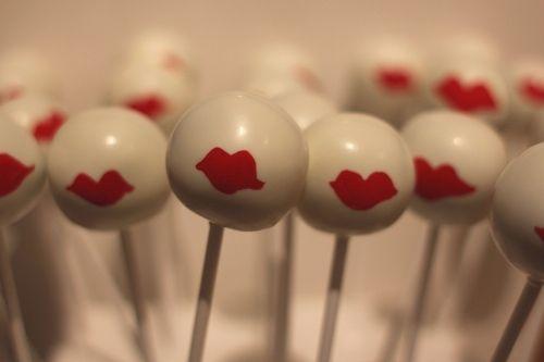 Red lipstick cake pops