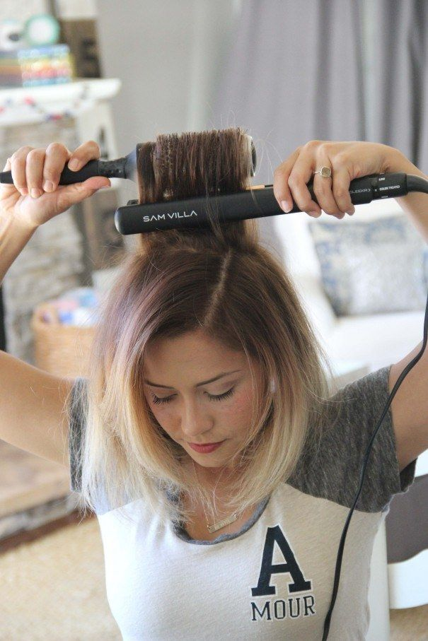Use a thermal brush at your roots to get rid of any cowlicks.