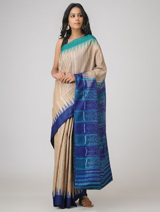330785cb24 Beige-Blue Sambalpuri Ikat Ghicha Tussar Silk Saree | The Saree ...