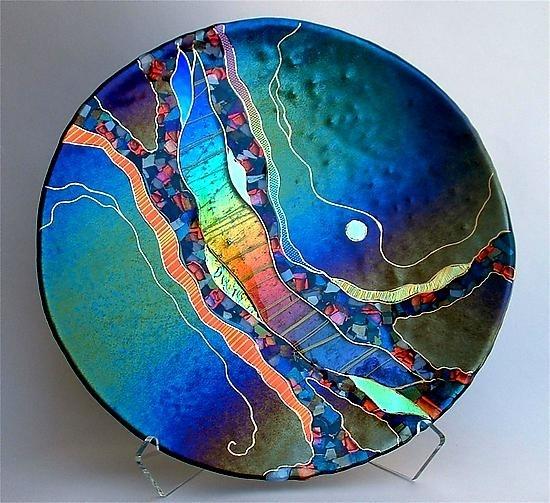 karen ehart glass artist | ... Platter in Dark Teal: Karen Ehart: Art Glass Platter - Artful Home