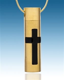 Gold Plated Cylinder Cross Pendant $49.99