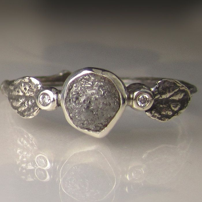 Raw Diamond Twig Ring in Recycled Sterling Silver, Rough Diamond Engagement Ring