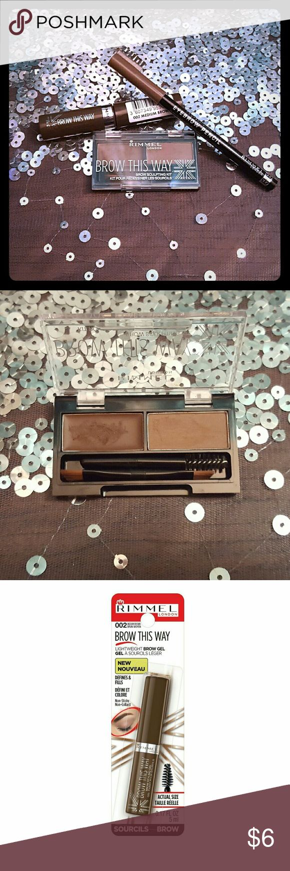 Rimmel London Brow This Way Bundle Brow This Way Brow Gel (medium brown) - Like new Brow Sculpting Kit (medium brown) - Gently used once. Will sanitize.  *Rimmel Professional Eyebrow Pencil (Hazel) listed separately. Add to bundle for discount. Rimmel Makeup