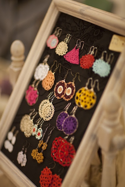 crochet earrings. Cute but I want to make the frame to store my earrings!