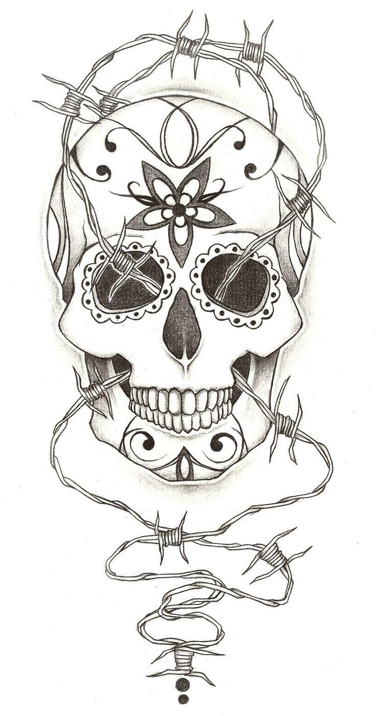 Sugar Skull Tattoo Design by charlieMegaLoMad