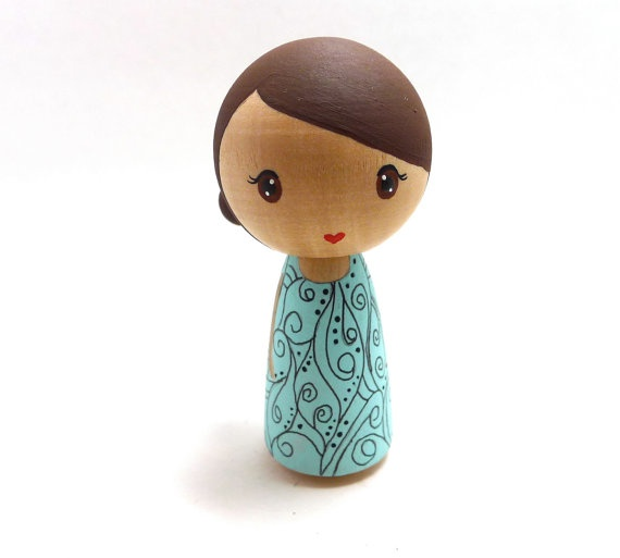Wooden Peg Doll Kokeshi Girl with Baby Blue Dress Sweet by abbyjac, $20.00