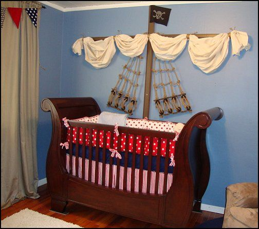 nautical theme baby rooms | Pirate themed nursery for Parker - lots more pictures here