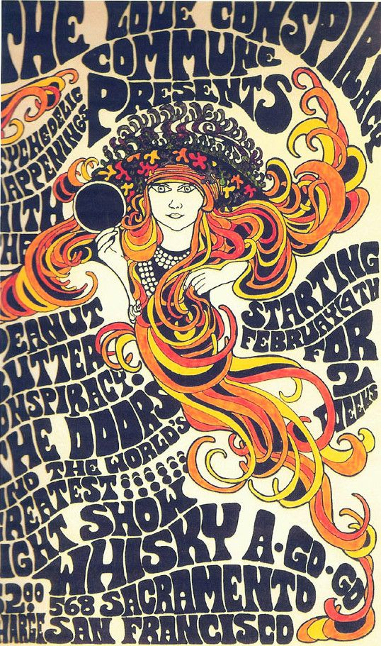 The Love Conspiracy- The Doors, classic rock psychedelic concert poster