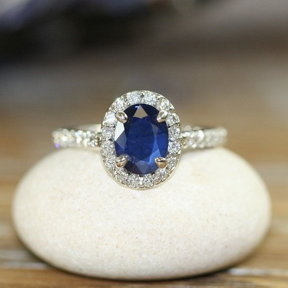 Natural Blue Sapphire Engagement Ring Halo Diamond Ring 14k White Gold 8x6mm Oval Sapphire Ring