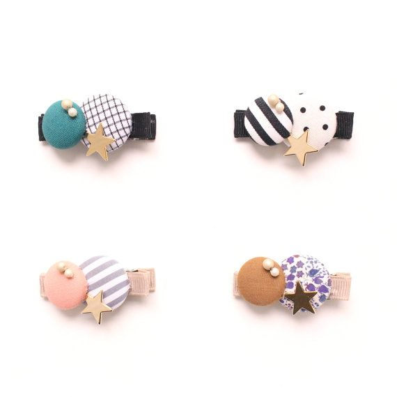 THIS LISTING IS FOR ONE HAIR CLIP.  Fun covered buttons hair clips for Kids and adult!   Cotton fabric covered buttons are SEWN (yes! No Glue) into Alligator Clips with Non-Slip Grip (see photo #3)  ...Measurement... Clips measure approx. 1 3/4 long and are 3/8 wide    More Kid Friendly items are here !!! http://www.etsy.com/shop/HOMAKO?section_id=11764001   ☆★ About HOMAKO Kid Friendly Line ☆★ When I was a kid, like my sisters, I mainly wanted to wear popular brands or clothes with kids…
