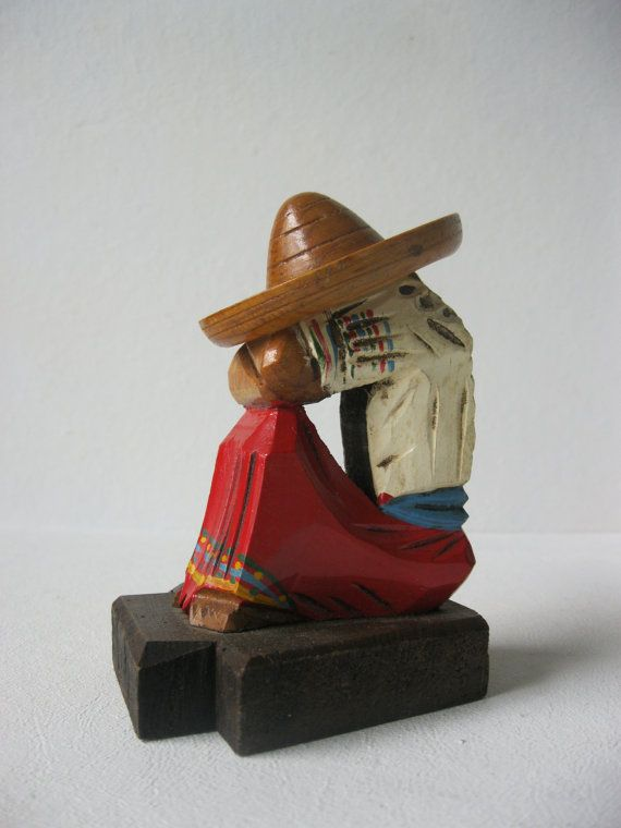 Vintage Carved Wooden Mexican Western Shelf Sitter on Etsy, $10.00
