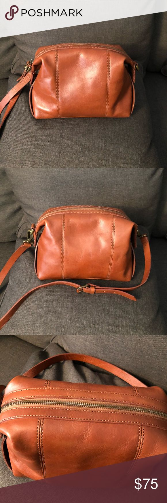 Madewell Mini Glasgow Satchel Crossbody One of my favorite mini bags I bought on Posh but trying to clean out my closet. Great condition, see pics for normal wear on corners and small scratch near bottom. Size included in pics as well. Madewell Bags Mini Bags