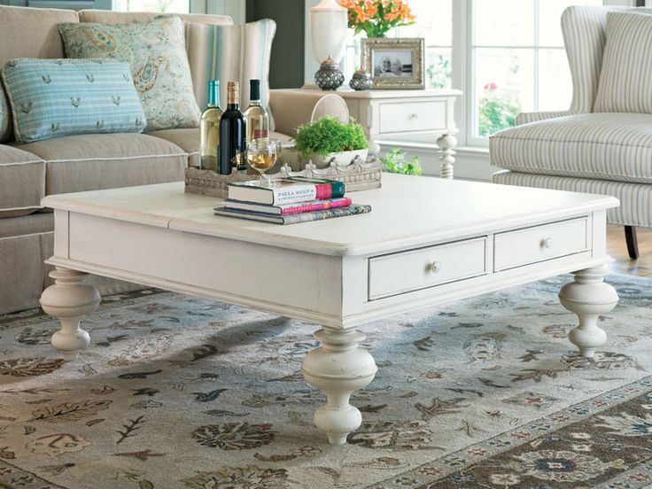 square shabby chic coffee table with gustavan style drawers. don't