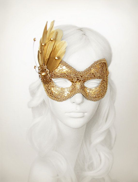 Pure Gold Lace Masquerade Mask  Metallic Gold Venetian by SOFFITTA