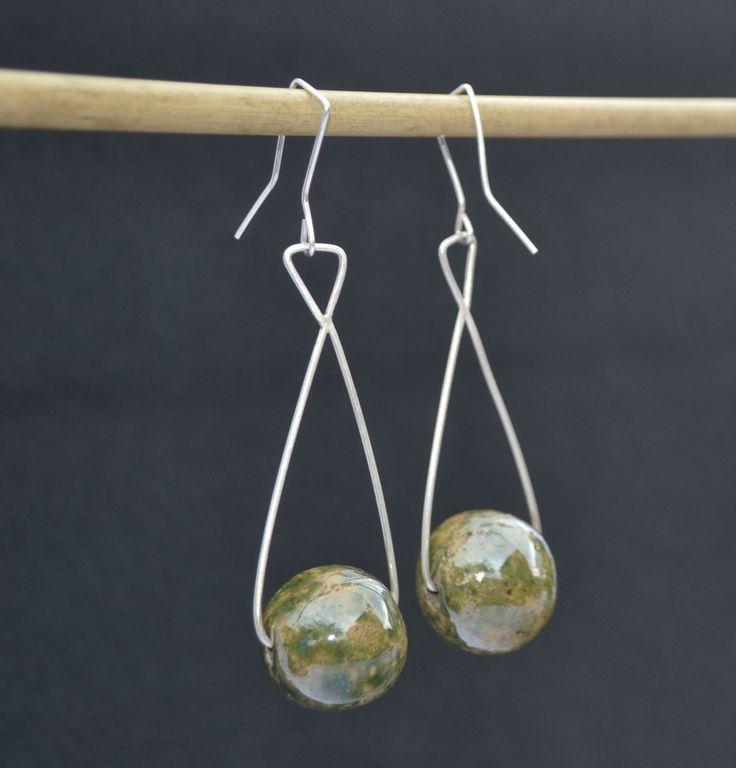 Kolczyki - ceramiczne kule i srebro. Earrings - ceramik bullet and silver.