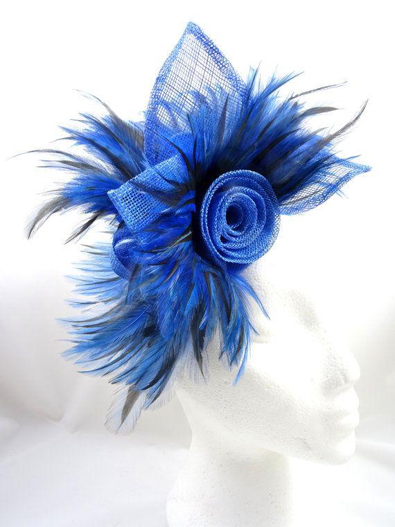 Royal blue fascinator feather hatinator by SpiritofHarlequin