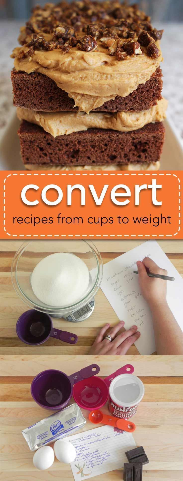 Converting recipes from cups to ounces (or grams) is daunting. But you can convert your tried and true recipes easily using my method. It takes a few extra minutes, but you'll get perfect results with your recipes every time! via @karascakes | baking | convert measurement | weighing ingredients | #baking #measuring