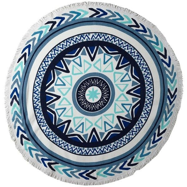 Plush Soleil Sundial Round Beach Towel (White/Blue) Bath Towels ($90) ❤ liked on Polyvore featuring home, bed & bath, bath, beach towels, plush beach towels, cotton round beach towel, round beach towel, cotton beach towels and pattern beach towel