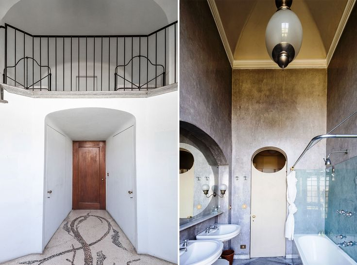 Villa San Valerio Caccia Dominioni | Yellowtrace Panel doors, marble pattern floor, Italian interior, pastel colour, Concrete bathroom