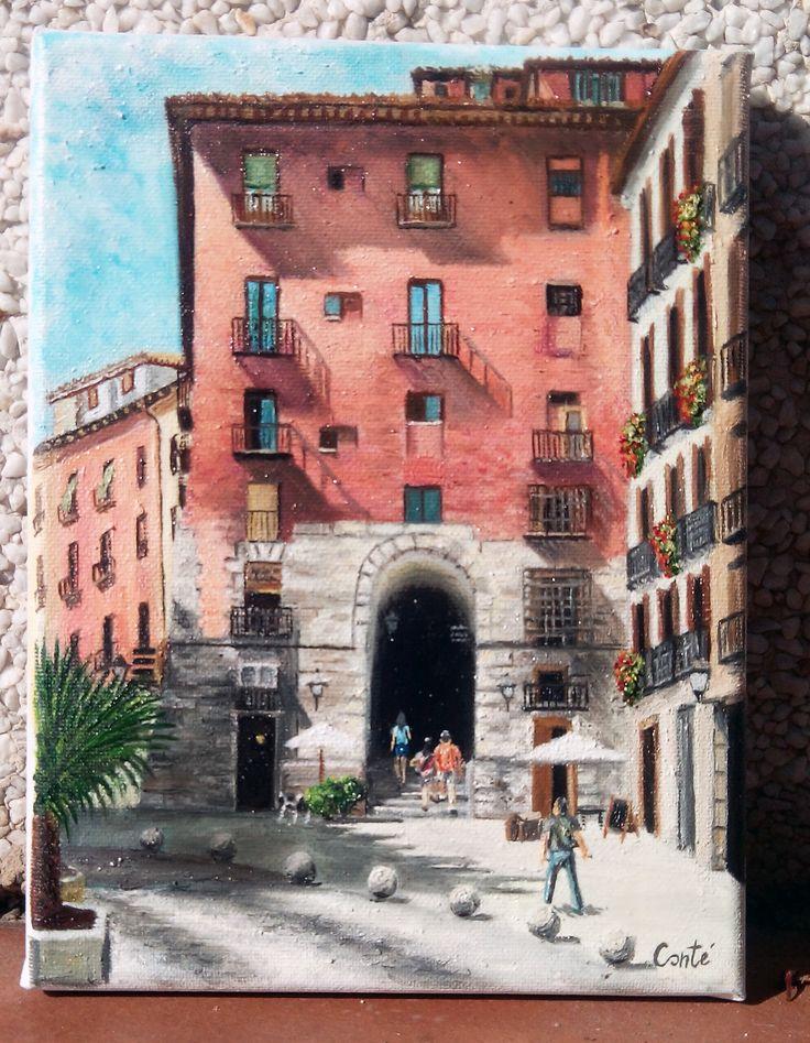 Arco de Cuchilleros, Madrid. Óleo sobre lienzo 18x24 cm.