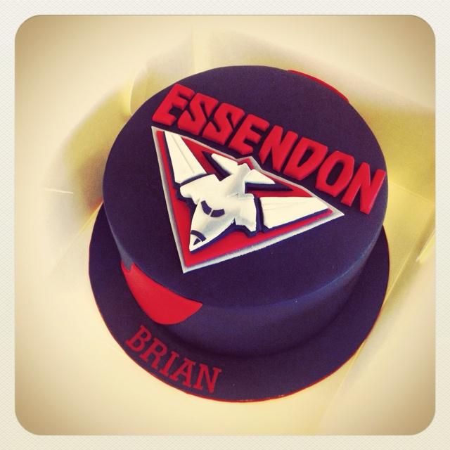 Essendon Bombers Cake by Cherry's Cakes itscherryscakes.blogspot.com