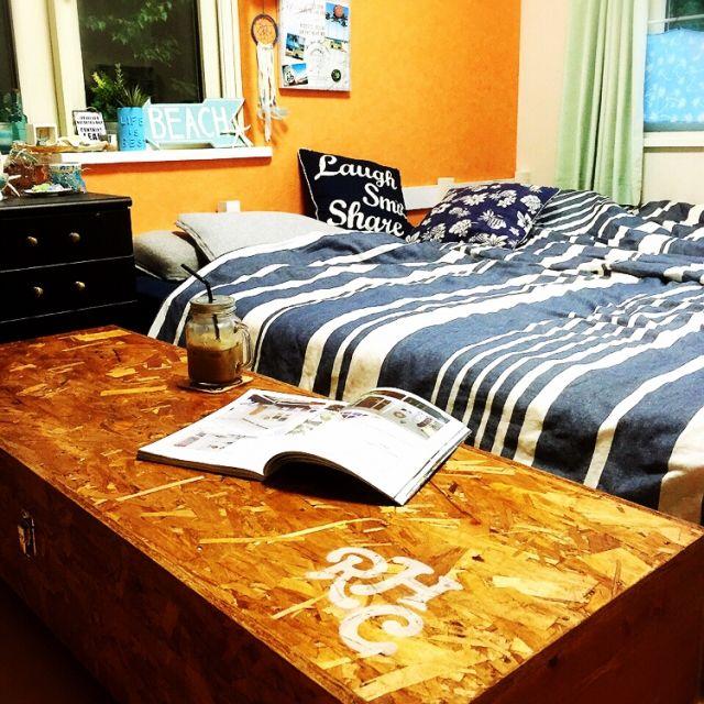 Megumiさんの、パレットベッド,ベッド,DIY,手作り,beach,ロンハーマン風,ニトリ,リメイク,ベッド周り,のお部屋写真