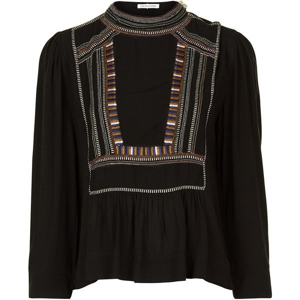 Isabel Marant Étoile Black Embroidered Cezra Blouse ($315) ❤ liked on Polyvore featuring tops, blouses, embroidered tops, boho blouse, elbow length sleeve tops, trapeze top and embroidered blouse