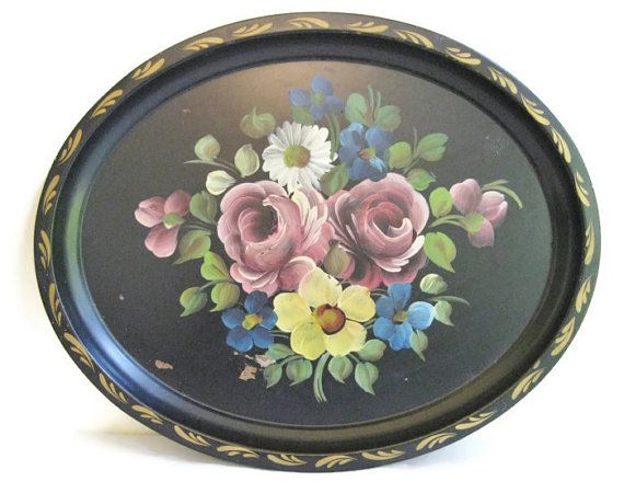 Metal Tray Hand painted Toleware Metal Tray 17x14 by FreeLiving