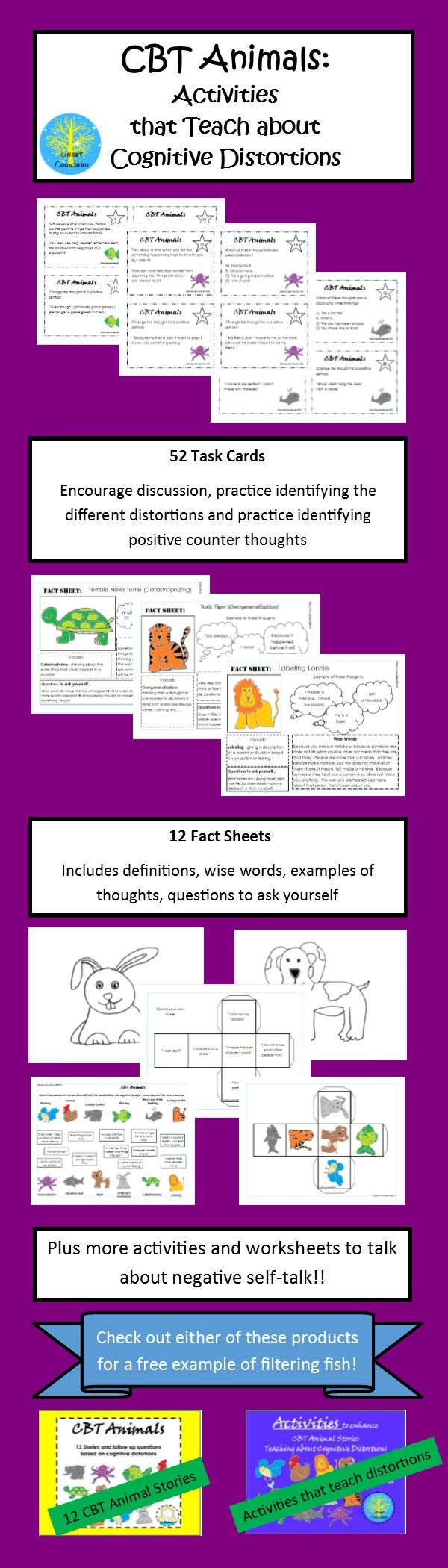 """As a follow up to the successful CBT Animals: Stories that Teach Cognitive Distortions, this activities can be used alone or as an enhancement to teach what are sometimes difficult to understand cognitive distortions.  Includes task cards, fact sheets and other activities!  Check out the product preview for a free sample of the activities for """"Filtering Fish."""""""