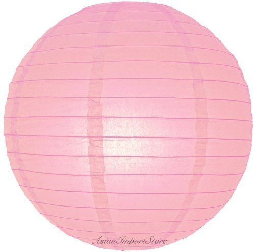 """24"""" Pink Even Ribbing Round Paper Lantern by Asian Import Store, Inc.. $5.75. Round paper lanterns with a even wire ribbing and held open with a wire expander.. Dimensions: 24"""" dia. (All lanterns sold without lighting, lighting options must be purchased separately). Round paper lanterns with a even wire ribbing. Lantern is held open with a wire expander.  Dimensions: 24"""" dia  (All lanterns sold without lighting, lighting options must be purchased separately)"""