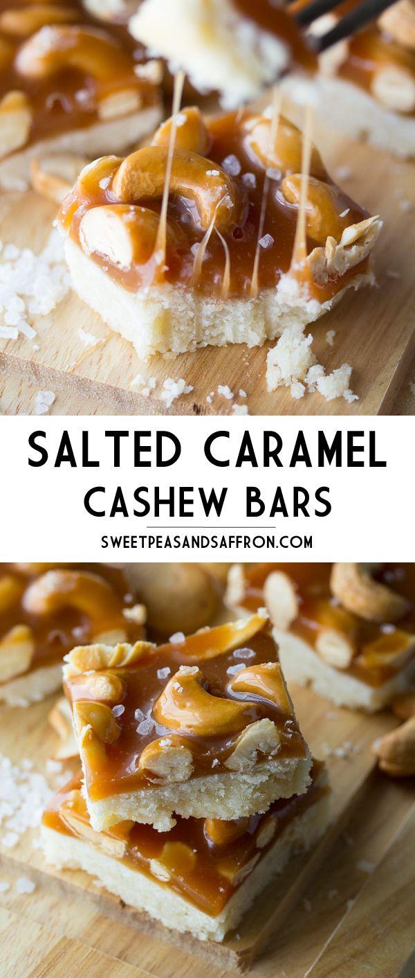 Salted Caramel Cashew Bars | sweetpeasandsaffron.com @necie83