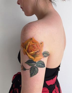 yellow rose tattoo - 40 Eye-catching Rose Tattoos <3