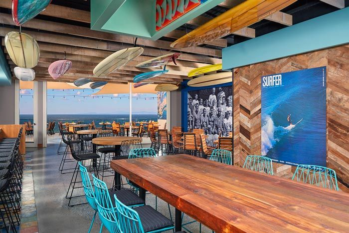 4. Duke's La Jolla The Hawaiian-inspired restaurant Duke's touches down in La Jolla with the new addition to the T S Restaurants portfolio, Duke's La Jolla. Opened in November, the bilevel restaurant includes balconies on each level for a combined 13,000 square feet and features views of the shoreline. It holds 430 for receptions. For smaller gatherings, the restaurant has a private dining space that seats 12. Partial buyouts are also available.