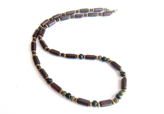 Mens wooden necklacebrown black wood beaded necklace mens