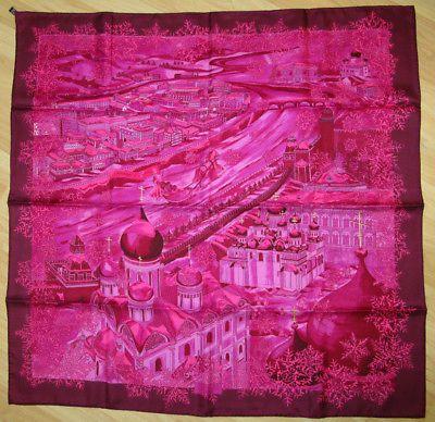 HERMÈS De Passage a Moscou by Natalie Vialars Pink/Purple 90CM Silk Scarf