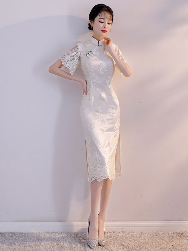 White Lace Mid Qipao / Cheongsam Part Dress with Bell Sleeve - CozyLadyWear