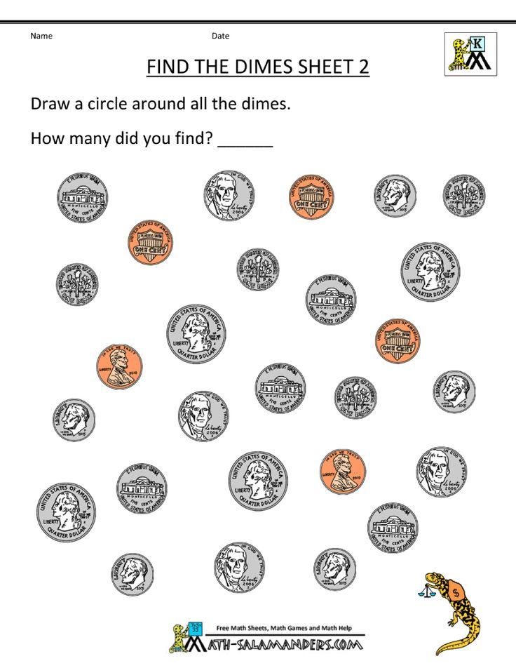 free kindergarten worksheets find the dimes 800 1 035 pixels math in first grade pinterest. Black Bedroom Furniture Sets. Home Design Ideas