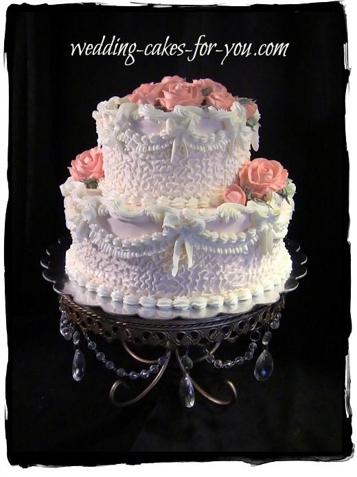 A small but very stunning Victorian wedding cake with all buttercream decorations.