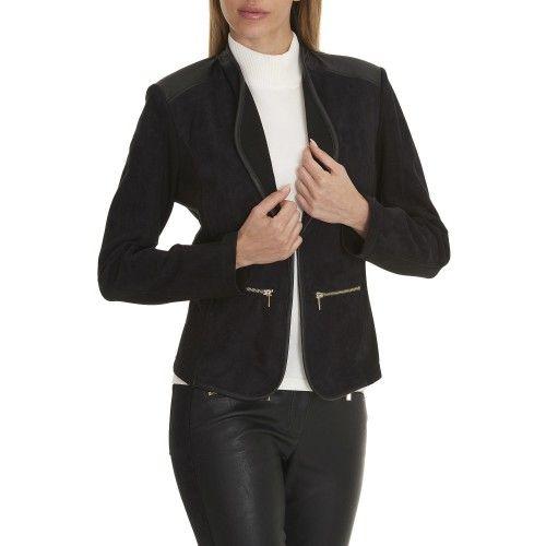 Betty Barclay - zwarte blazer leder-alcantara - 50369621