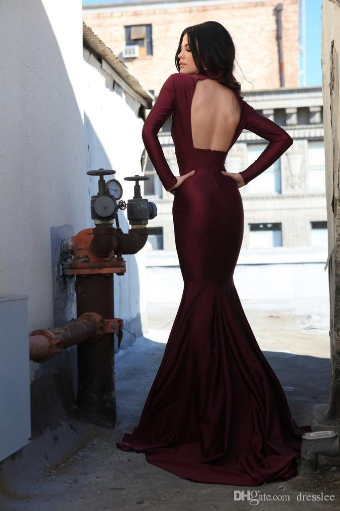 2015 Elegant Long Sleeve Prom Dresses Burgundy Mermaid Evening Dress Backless Formal Women's Party Gowns Custom Made