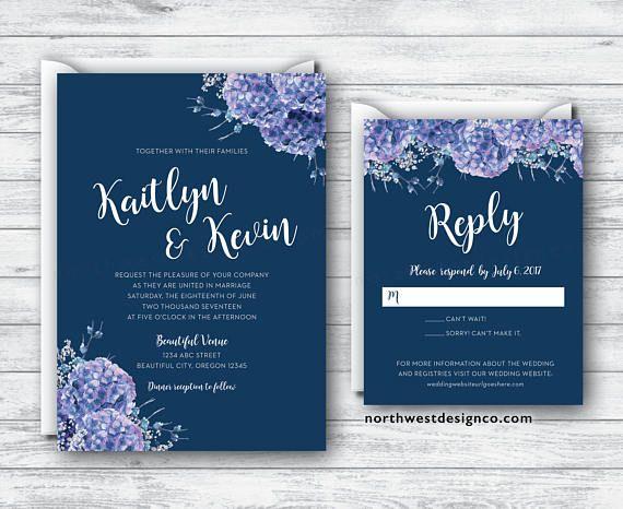 Navy Purple Hydrangea Wedding Invitation and Reply Card Set