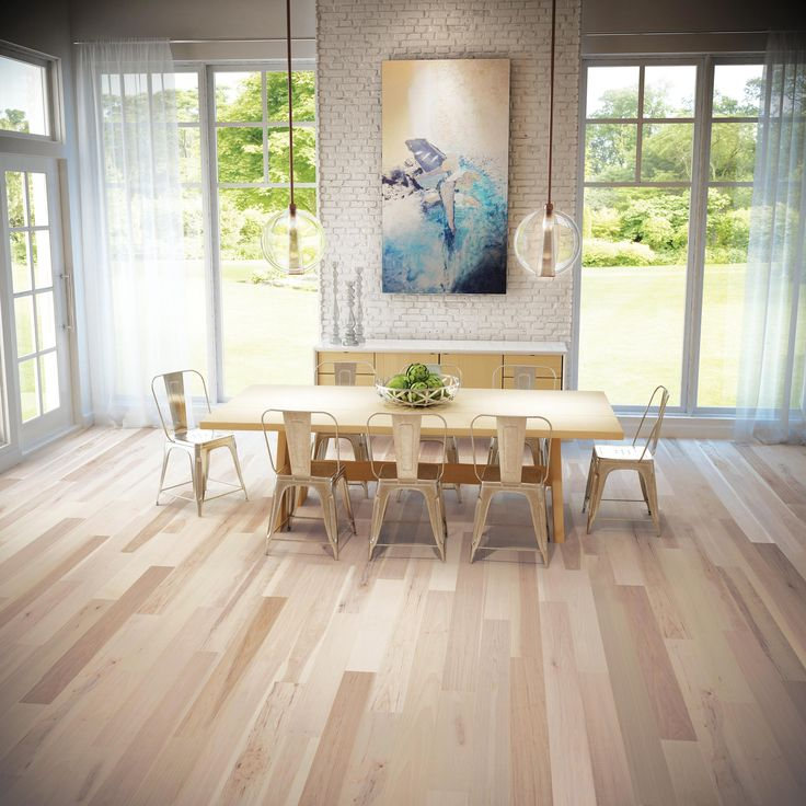 Take a look at our beautiful dining room featuring our new Hickory Persia, a light hickory hardwood floor. It even comes standard with with Pure Genius, our air-purifying smart floor.  #hardwoodfloor #bedroom #PureGenius #smartfloor #airpurifying #interiordesign #homedecor #Hardwoodflooring #ArtFromNature